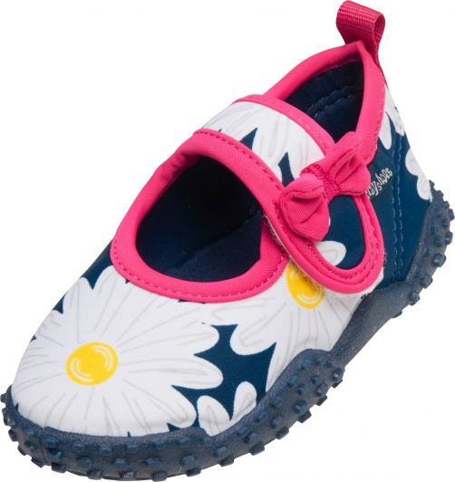 Playshoes - UV swim shoes for girls - Oxeye daisy - Navy blue - Front
