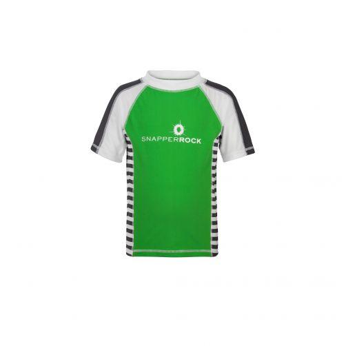 Snapper Rock - Green/Slate Stripe SS Rash Top - 0