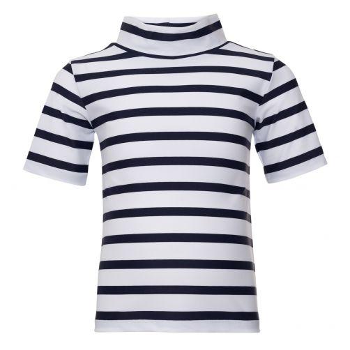 Petit Crabe - UV shirt short sleeves - Striped - White/Navy - Front