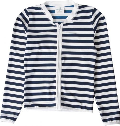 Snapper Rock - UV Shirt with zipper Kids Long Sleeve- Navy/White Stitch - 0