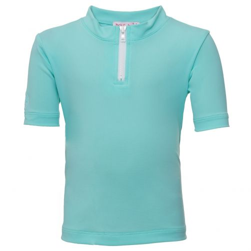 Petit Crabe - UV shirt short sleeves and zipper - Mint - Front
