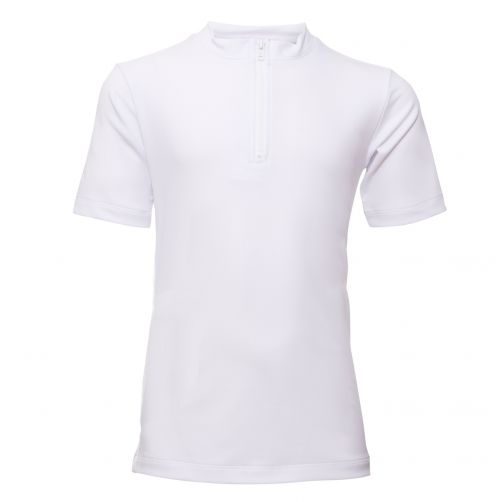 Petit Crabe - UV shirt short sleeves and zipper - White - Front