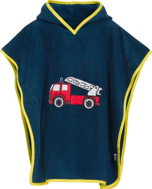 Playshoes - Baby towel with hoodie - Firetruck - Front