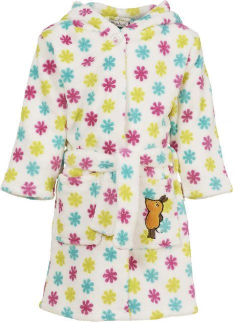 Playshoes - Fleece Bathrobe with hoodie - 'the mouse' - Flowers - Front