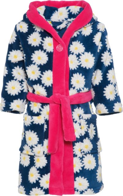 Playshoes - Fleece dressing gown for girls - Oxeye daisy - Navy / pink - Front