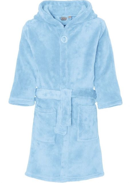 Playshoes - Fleece Bathrobe with hoodie - Light Blue - Front