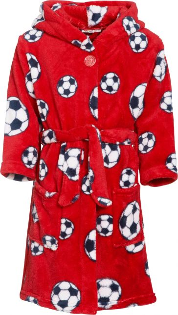 Playshoes - Fleece Bathrobe with hoodie - Football Red - Front
