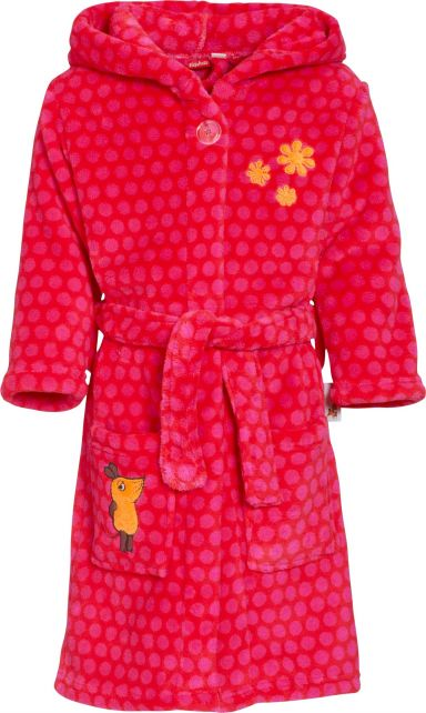 Playshoes - Fleece Bathrobe with hoodie - Mouse Pink - Front