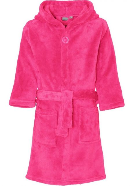Playshoes - Fleece Bathrobe with hoodie - Pink - Front