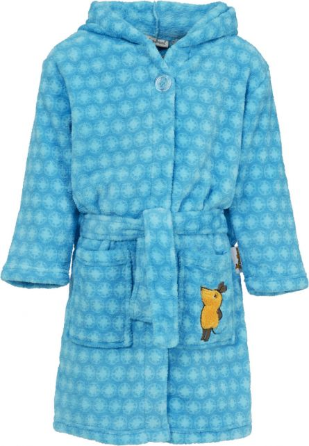 Playshoes - Fleece Bathrobe with hoodie - 'the mouse' - Blue - Front