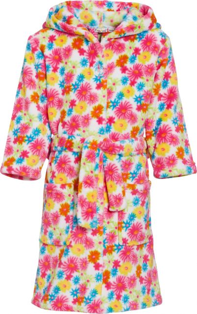 Playshoes - Fleece Bathrobe with hoodie - Flowers Yellow - Front