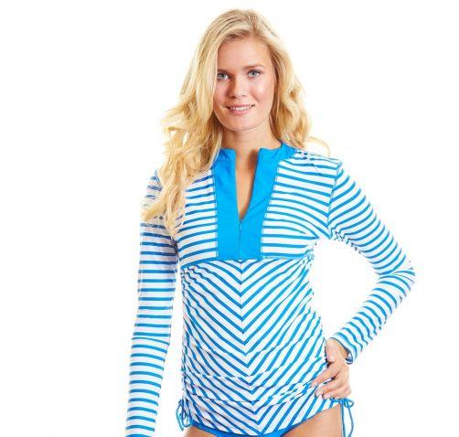 Cabana-Life---UPF-50+-Cobalt-striped---Ruched-Rashguard