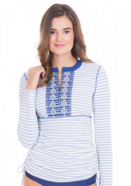 Cabana-Life---UV-resistant-embroided-Rashguard-for-ladies---White/Blue
