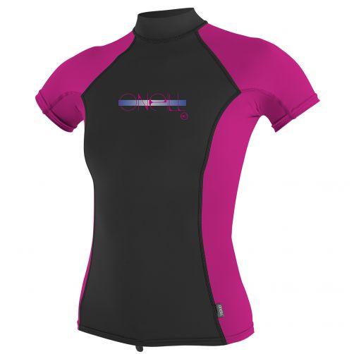 O'Neill - Girls' UV T-shirt - short-sleeve Turtleneck - pink/black - Front