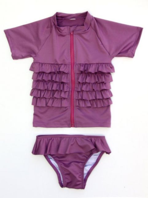 Swimzip - Protective Short Sleeve Swimset- Ruffle Me Pretty - 0