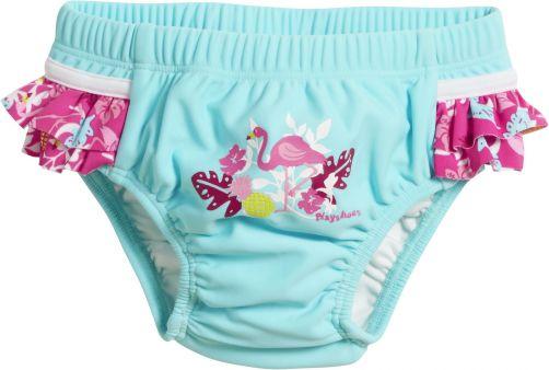 Playshoes - UV swim nappy for girls - Reusable - Flamingo - Aqua/pink - Front