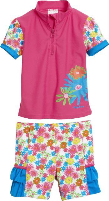 Playshoes - UV swim set - pink flowers - 0