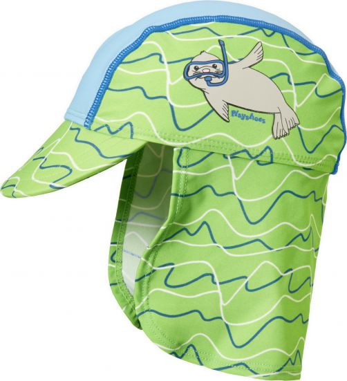 Playshoes - UV sun cap with neck flap for kids - seal - blue/green - Front