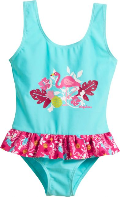 Playshoes - UV bathing suit for girls - Flamingo - Aqua blue / pink - Front