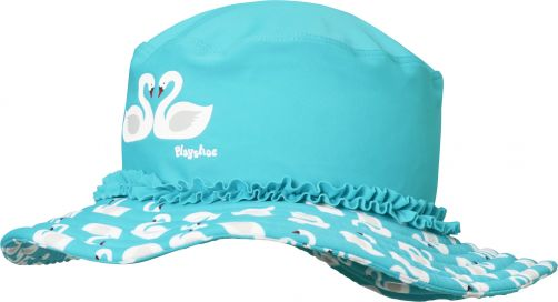 Playshoes - UV sun hat for girls - swans - light blue - Front