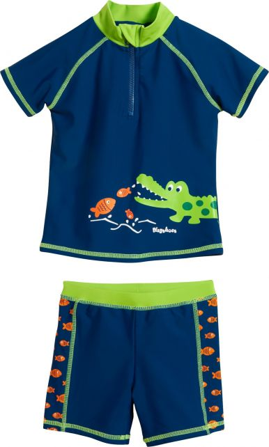 Playshoes - UV swim set two-piece for boys - Crocodile - Blue - Front