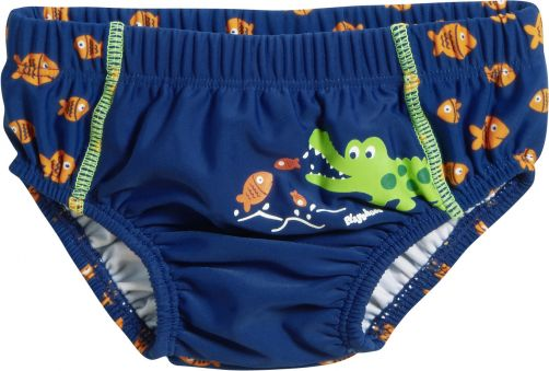 Playshoes - UV swim nappy for boys - Reusable - Crocodile - Blue - Front