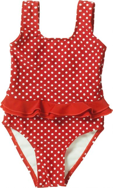Playshoes - UV bathing suit for girls - Double ruches - Dots - Red - Front