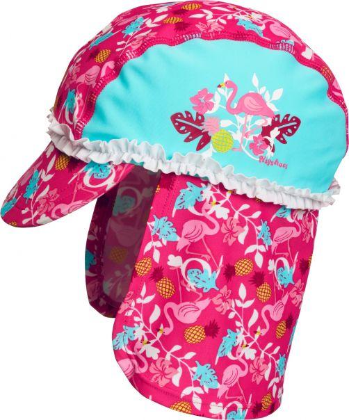 Playshoes - UV sun cap for girls - Flamingo - Aqua blue / pink - Front