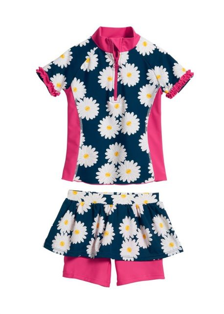 Playshoes---UV-swimsuit-two-piece-for-girls---Oxeye-daisy---Blue/pink