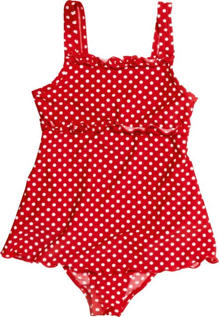 Playshoes - UV bathing suit for girls - Skirt - Dots - Red - Front