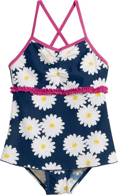 Playshoes - UV bathing suit for girls - Skirt - Oxeye daisy - Blue - Front