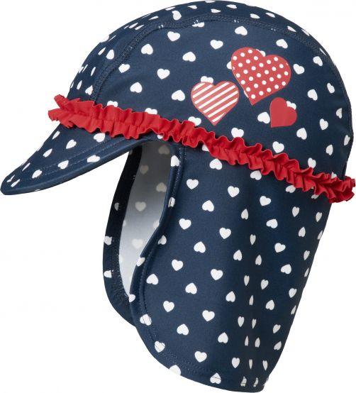 Playshoes - UV sun hat for girls - hearts - dark blue - Front