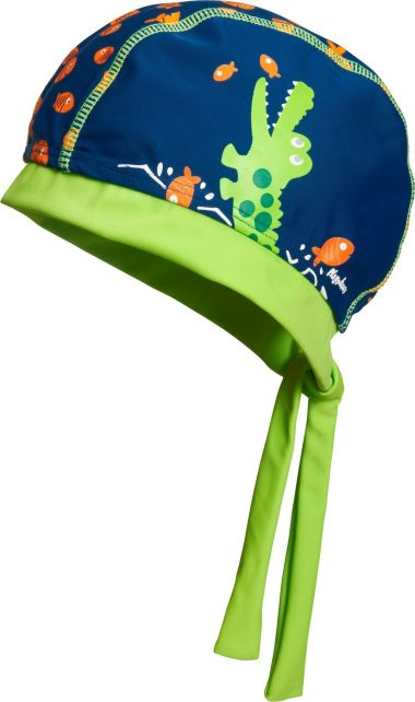 Playshoes - UV swim bandana for boys - Crocodile - Blue / green - Front