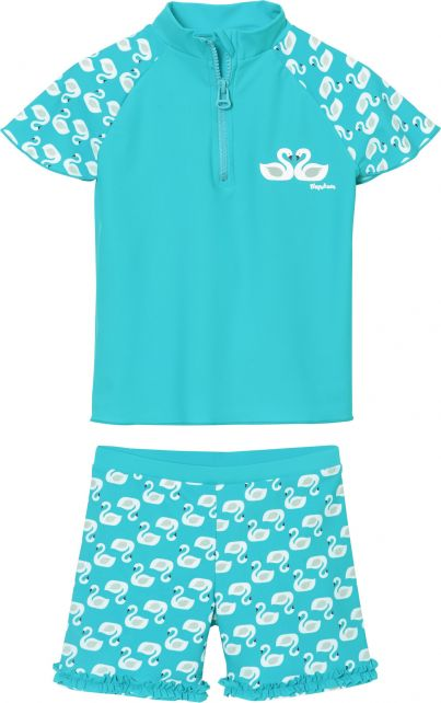 Playshoes - UV swim set for girls - swans - light blue - Front