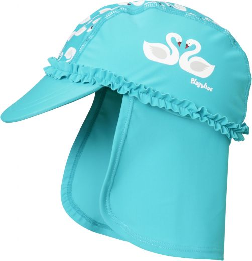 Playshoes - UV sun cap for girls - swans - light blue - Front