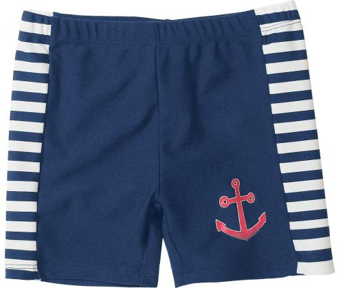 Playshoes - UV swimshorts blue white striped - Front