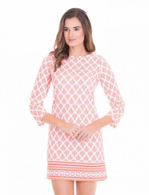 Cabana-Life---UV-resistant-Shift-dress-for-ladies---Orange/White