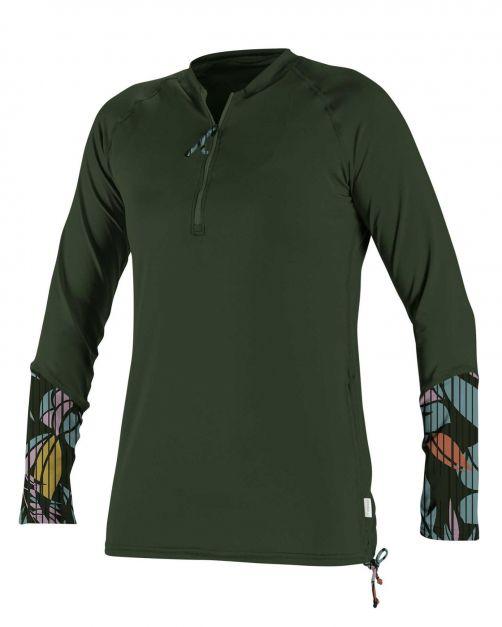 O'Neill---Women's-UV-shirt---Longsleeve---Front-Zip---Dark-Olive