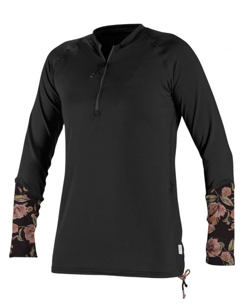 O'Neill---Women's-UV-shirt---Longsleeve---Front-Zip---Black