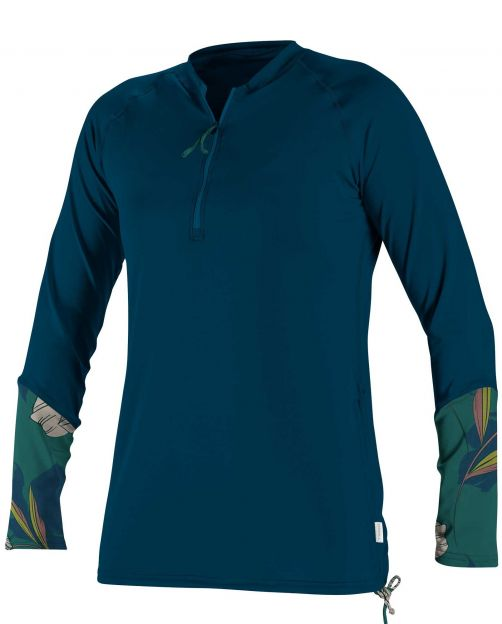 O'Neill---Women's-UV-shirt---Longsleeve---Front-Zip---French-Navy