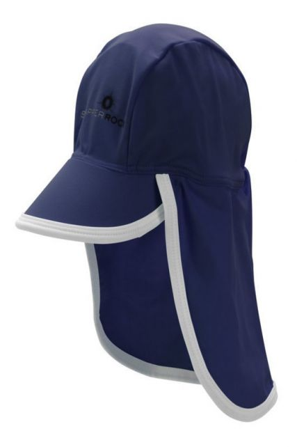Snapper Rock - UV Baby Flap Hat- Blue/White Trim - 0