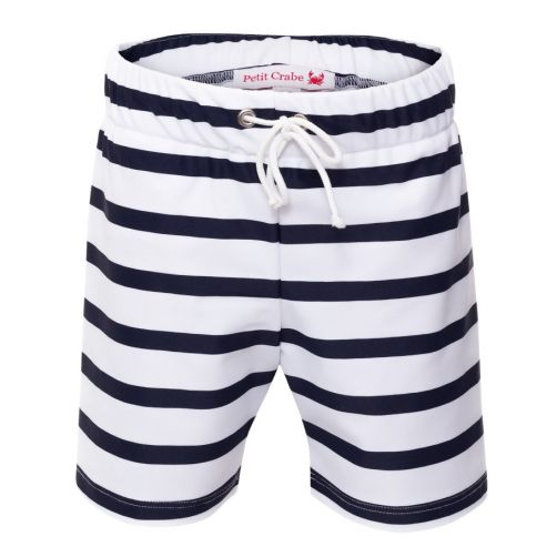 Petit Crabe - UV Swim short - Striped - White/Navy - Front