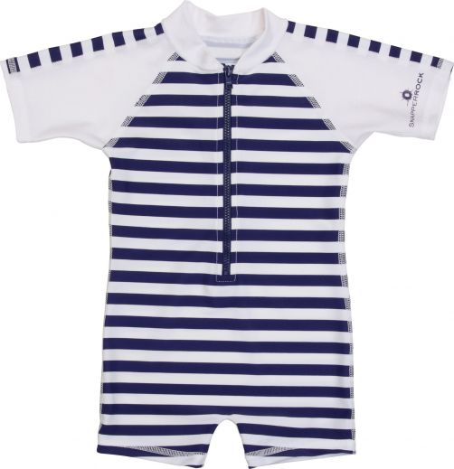 Snapper Rock - One Piece UV Swimsuit Kids Short Sleeve- Navy/White Stripe - 0