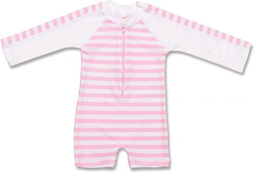 Snapper Rock - One Piece UV Swimsuit Kids Long Sleeve- Pink Stripe - 0
