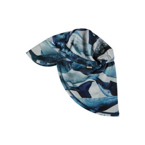 Molo - UV sun cap with neck flap for kids - Nando - Whale print - Front