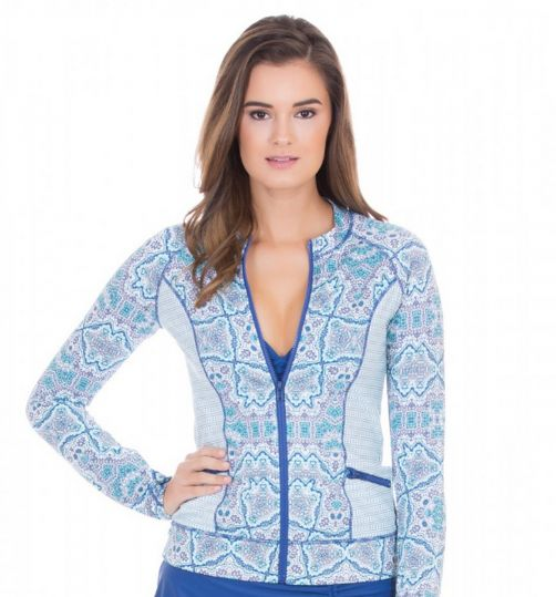 Cabana-Life---UV-resistant-Rashguard-with-zipper-for-ladies---Blue/White