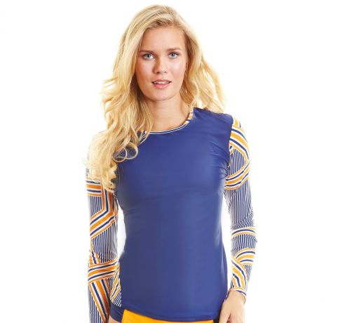 Cabana-Life---UPF-50+-Blue-with-stripes-sleeve---Zip-Back-Rashguard
