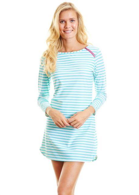 Cabana-Life---UPF-50+-Zipper-Swim-Dress-Green-Stripe-Large