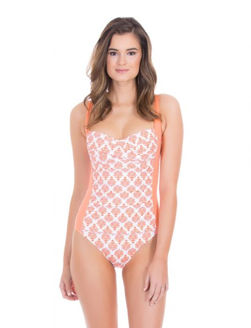 Cabana-Life---UV-resistant-swimsuit-for-ladies---Orange/White