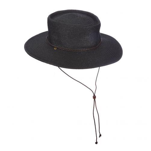 Scala---UV-braided-hat-adjustable-for-women---Black